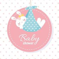 baby shower, white bunny in blanket, welcome newborn celebration dotted background label