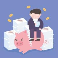 Quiebra hombre sentado sobre una pila de papeles deuda y hucha rota cae monedas crisis empresarial vector