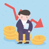 bankruptcy businessman on coins money falling arrow business process financial crisis vector