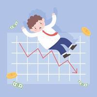 Hombre de quiebra con caída de gráfico dinero proceso empresarial crisis financiera vector