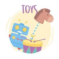toys object for small kids to play cartoon robot drum horse in stick