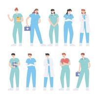 gracias médicos y enfermeras, héroes de primera línea, médicos y enfermeras, personajes vector