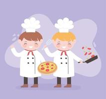 chefs boys cartoon character with pizza and salad in saucepan vector