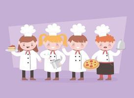 chefs de dibujos animados cocinando y sosteniendo la bandeja de comida postre y cacerola vector