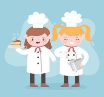 chefs girl cartoon character with pot ladle and cake vector