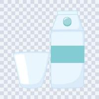 plastic or glass cups bottles mockups, milk or juice box and disposable cup vector