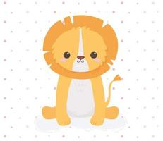 cute lion sitting animal cartoon dotted background design vector
