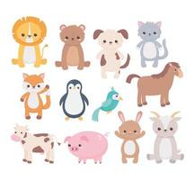 cute dog goat bear cat parrot horse pig penguin cow cartoon animals icons vector