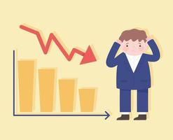 Hombre de quiebra cayendo con gráfico de recesión proceso empresarial crisis financiera vector