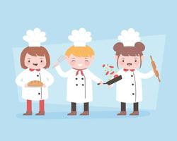 chefs cartoon character with roller pin and bread vector