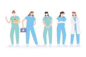 thank you doctors and nurses, medical staff people all healthcare workers vector