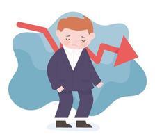 bankruptcy sad businessman cartoon down red arrow business process financial crisis vector