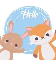 cute rabbit and fox cartoon animals hello background design vector
