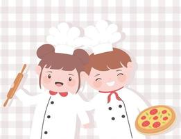 cute girl and boy chefs cartoon character with roller pin and pizza vector