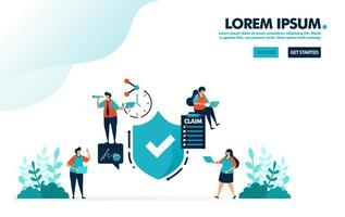 Verify for safety protection and security quality guarantees. survey to submit claims on insurance. simple tick symbol vector illustration for landing page, web, banner, mobile apps, flyer, poster, ui