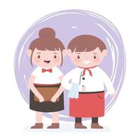 cute waitress female and male professional cartoon character vector