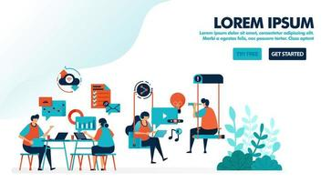 Brainstorming to solve problem. Startup office with swing. Modern workplace or coworking space. Play and work. Flat vector illustration for landing page, web, website, banner, mobile, flyer, poster