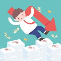 bancarrota cayendo empresario sobre facturas impagas o deuda de préstamo colapso financiero empresarial vector