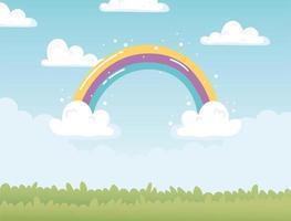 arco iris nubes cielo campo naturaleza dibujos animados decoracion vector