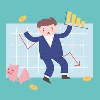 bancarrota hombre colapso gráfico roto hucha monedas dinero negocio crisis financiera vector