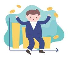 bancarrota triste empresario estadísticas gráfico informe dinero proceso empresarial crisis financiera vector