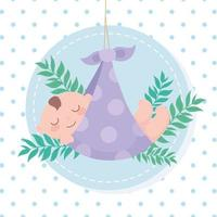baby shower, dotted blanket with little boy with leaves decoration, welcome newborn celebration card