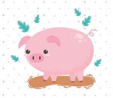 pig animal farm cartoon in a natural landscape vector