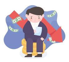 Quiebra triste hombre con factura sentado en monedas dinero flecha roja hacia abajo proceso empresarial crisis financiera vector