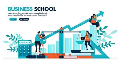 Vector illustration of people are calculating balance sheet on the scale. Bar chart diagram. Business, accounting and economic school. Design for landing page, web, banner, template, poster, ui ux