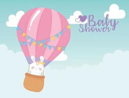 baby shower, flying air balloon with cute bunny, welcome newborn celebration card vector