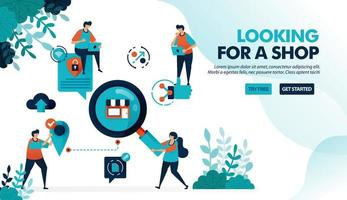 Search and find store location. Looking for store with data security protection. Promote to get customers. Flat vector illustration for landing page, web, website, banner, mobile apps, flyer, poster