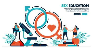 Vector illustration of people are studying sex education. sex romance for mental and physical health. human biology and anatomy lesson. Design for landing page, web, banner, template, poster, ui ux