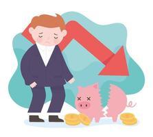 Bancarrota empresario flecha abajo hucha monedas dañadas negativas financieras empresariales vector