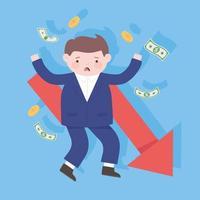 bancarrota empresario cayendo flecha dinero proceso crisis financiera vector