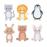 lindo león pingüino gatos oso conejo cabra divertidos dibujos animados animales vector