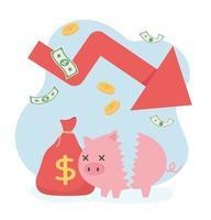 bankruptcy broken piggy bank money bag coins down arrow business financial crisis vector