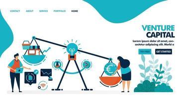capital riesgo para iniciar negocios y empresas. buscando financiación e inversores para iniciar una startup. ilustración vectorial plana para página de destino, web, sitio web, banner, aplicaciones móviles, folleto, cartel vector