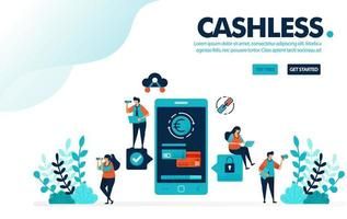 Vector illustration cashless society payment. People transactions without money or cashless. Mobile payment, banking and credit card. Designed for landing page, web, banner, template, flyer, poster