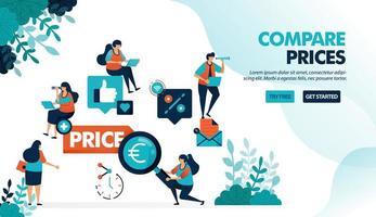 comparar precios de tiendas y productos individuales. encuentra los mejores precios con más descuentos y promociones. ilustración vectorial plana para página de destino, web, sitio web, banner, aplicaciones móviles, folleto, cartel