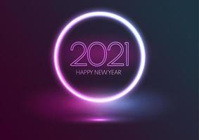 fondo de neón feliz año nuevo vector