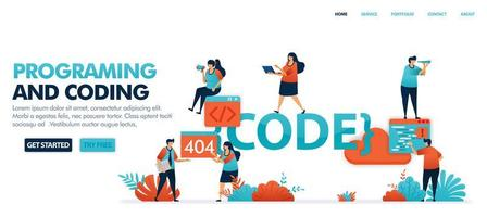 Coding and programming to find bugs in code set in solving error problems, 404, not found. Programming for software and mobile apps. Human vector illustration for website, mobile apps and poster