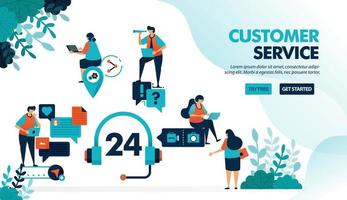 24 hour customer service to help users solve problems. Chatting service helps question with technical issue. Flat vector illustration for landing page, web, website, banner, mobile apps, flyer, poster