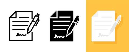 Signing a contract, document flat icon set