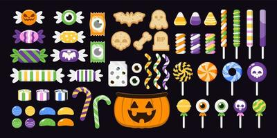 Set of Colourful Halloween Sweets vector