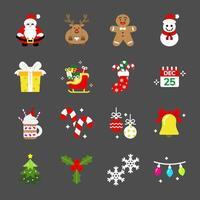 conjunto de iconos de navidad vector