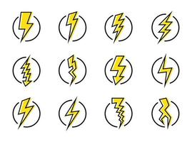 Lightning bolt and energy icon set vector