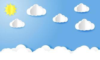 cielo brillante en el fondo de arte de papel durante el día vector