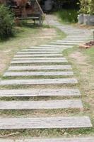 camino de piedra del jardín en la hierba