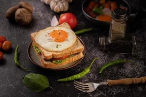 Ham and egg breakfast sandwich