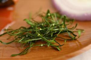 Shredded kaffir lime leaves and herbs